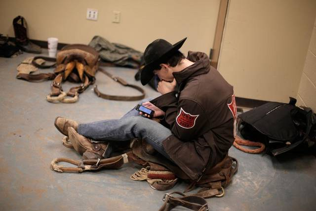 Will Abshure, of Ward, Arkansas, prepares to compete during the final performance of International Finals Rodeo at the State Fair Arena in Oklahoma City, Okla., Sunday, Jan. 20, 2013.  Photo by Garett Fisbeck, For The Oklahoman