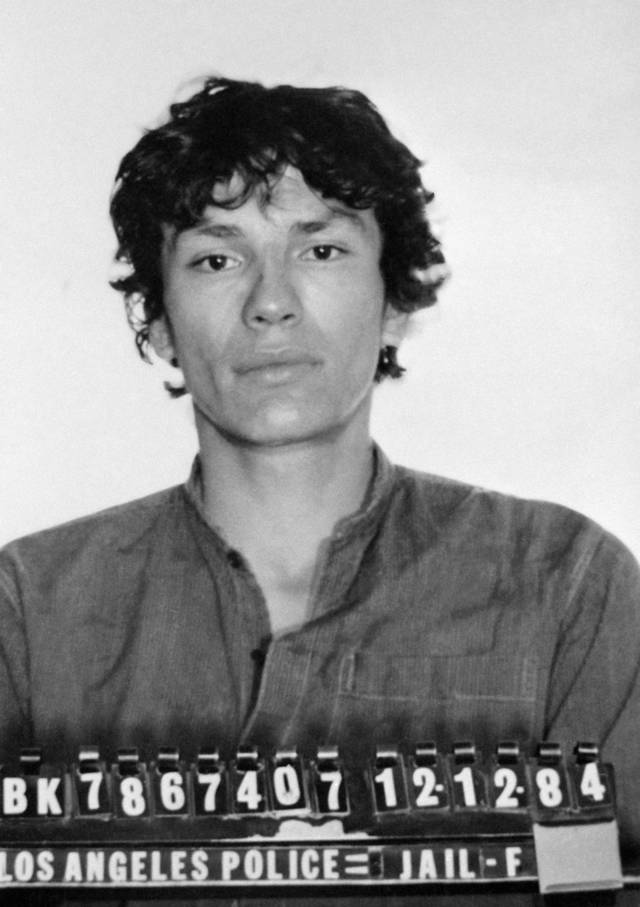 FILE - This undated file photo released by the Los Angeles Police Department shows the booking photo of serial killer Richard Ramirez shown in Los Angeles, Calif. Ramirez, known as the Night Stalker, has died in prison. San Quentin State Prison spokesman Lt. Sam Robinson says Ramirez died Friday, June 7, 2013.   (AP Photo/LAPD,File)