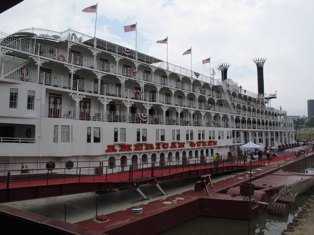 The American Queen riverboat sits docked in Memphis as it prepares for a voyage to Cincinnati on Friday, April 27, 2012 in Memphis, Tenn. (AP Photo/Adrian Sainz)