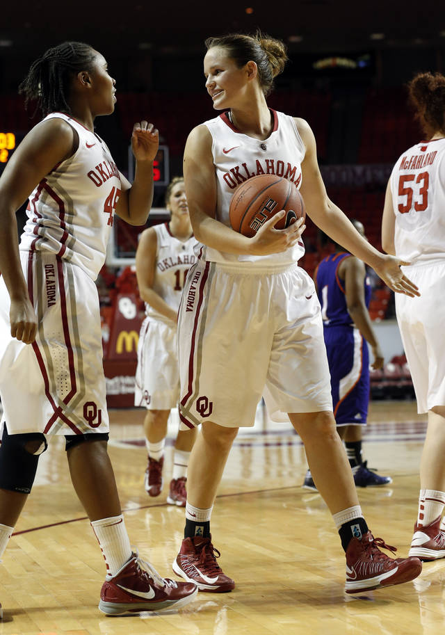 Oklahoma Sooners' Jasmine Hartman (45) and Whitney Hand (25) talk after a play during the second half as the University of Oklahoma (OU) Sooner women's basketball team plays the Northwestern State Lady Demons at the Lloyd Noble Center on Thursday, Nov. 29, 2012  in Norman, Okla. Photo by Steve Sisney, The Oklahoman