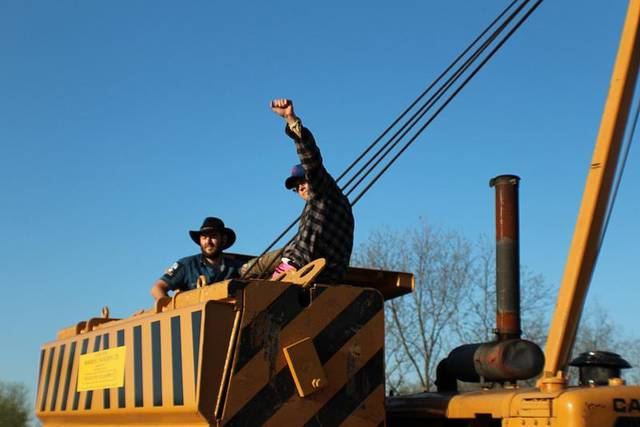 Protesters tried to block construction of the Keystone XL pipeline Monday near Spaulding in Hughes County. (photo provided)