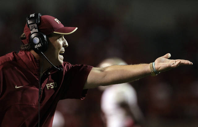 Florida State coach Jimbo Fisher gestures during the second half of an NCAA college football game against North Carolina State in Raleigh, N.C., Saturday, Oct. 6, 2012. North Carolina State won 17-16. (AP Photo/Gerry Broome)