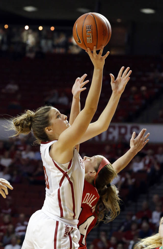Oklahoma's Morgan Hook (10) shoots a basket as Marist's Casey Dulin (14) defends during the women's college basketball game between the University of Oklahoma and Marist at Lloyd Noble Center in Norman, Okla.,  Sunday,Dec. 2, 2012. Photo by Sarah Phipps, The Oklahoman