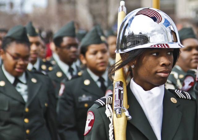 A member of the Northeast High School ROTC marches during Martin Luther King Jr. Day parade through downtown Oklahoma City on Monday, Jan. 16, 2012, in Oklahoma City, Okla. Photo by Chris Landsberger, The Oklahoman