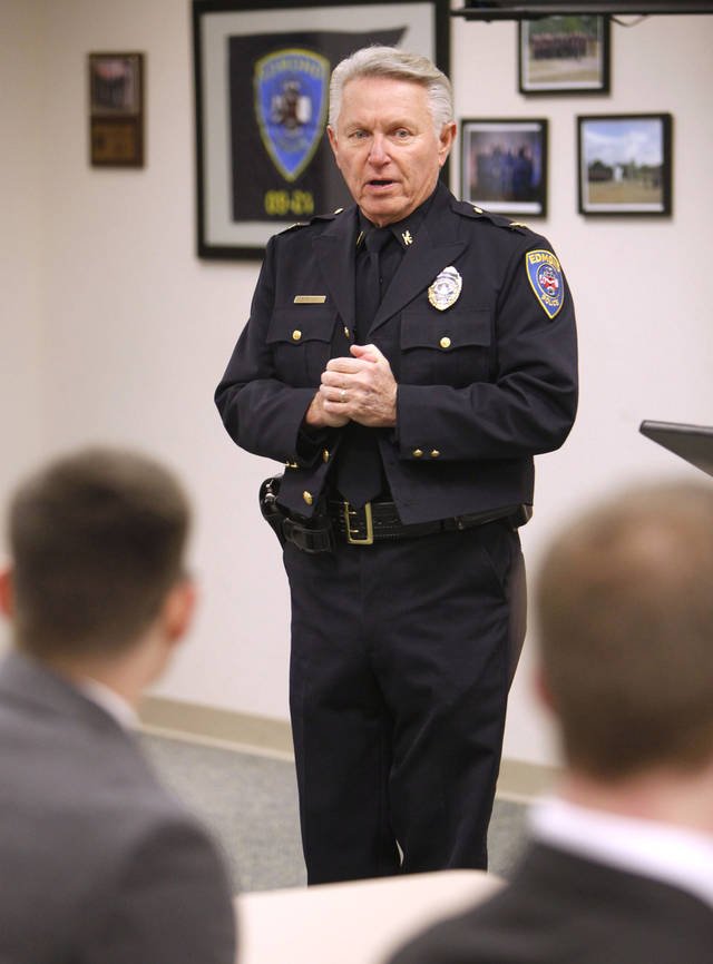 Police Chief Bob Ricks speaks to cadets as the Edmond Police Department's second police academy has its opening ceremonies at the Edmond Police Department's Firing Range in Edmond, OK, Monday, Nov. 28, 2011. By Paul Hellstern, The Oklahoman
