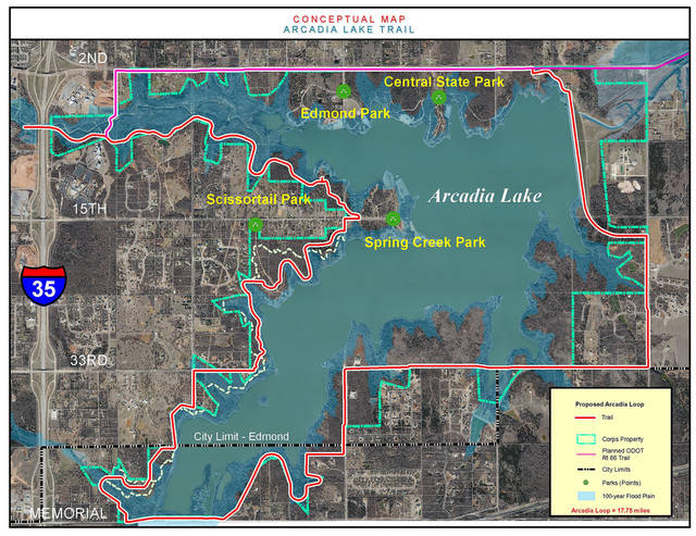 A map shows the proposed 18- to 20-mile trail around Arcadia Lake. Members of the Arcadia Lake Trail Coalition are continuing to tweak the alignment of the trail that is projected to open in 2014. PHOTO PROVIDED