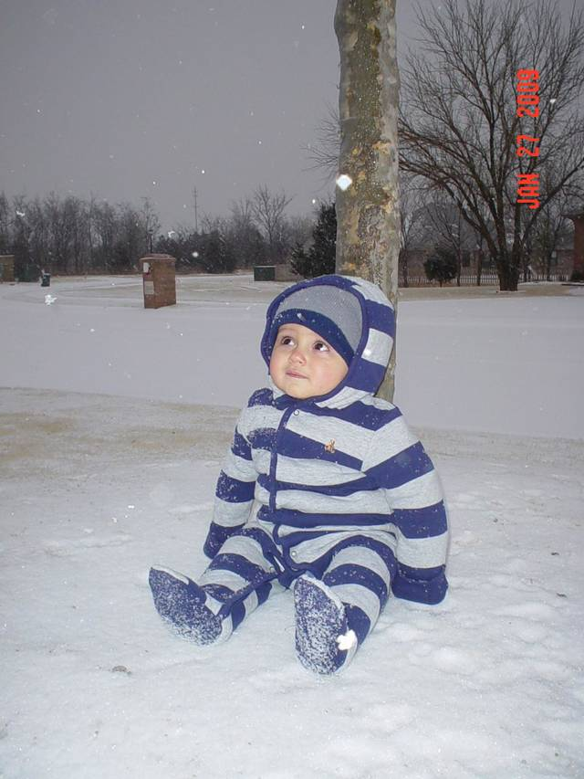 Baby's First Snow!!  Submitted by Gage Gibbons