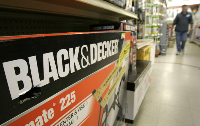 FILE-In this Tuesday, Nov. 3, 2009, file photo, a Black & Decker Workmate bench is displayed at a store in Little Rock, Ark. Tool maker Stanley Black & Decker Inc. announced Tuesday, Oct. 9, 2012, that it is selling its hardware and home-improvement business to Spectrum Brands Holdings Inc. for $1.4 billion in cash. (AP Photo/Danny Johnston, File)