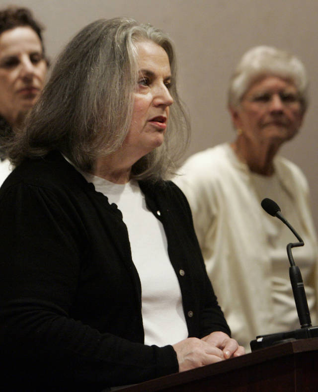 FILE - In this May 22, 2009 file photo, Elizabeth Brancato speaks in favor of repealing the state's death penalty at a news conference at the Legislative Office Building in Hartford, Conn. Brancato lobbied for years against capital punishment, despite the murder of her mother in 1979. The legislature gave final approval to a repeal bill Wednesday night, April 11, 2012. Democrat Gov. Dannel P. Malloy said he will sign the bill into law. (AP Photo/Bob Child, File)