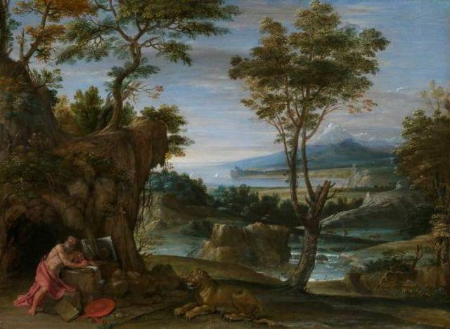"""Landscape with St. Jerome,"" circa 1610, by Domenichino, is featured in the exhibit ""Of Heaven and Earth: 500 Years of Italian Painting from Glasgow Museums"" at the Oklahoma City Museum of Art. Photo provided by American Federation of Arts"