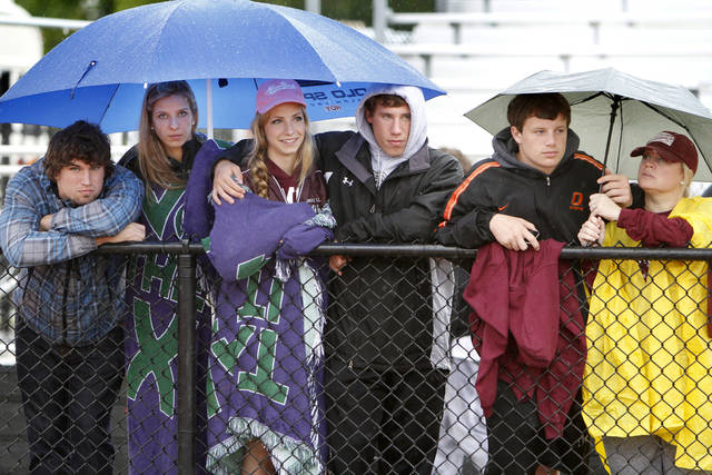 Spectators watch the 5A and 6A state finals track meet at Yukon High School in Yukon, OK, Friday, May 11, 2012,  By Paul Hellstern, The Oklahoman