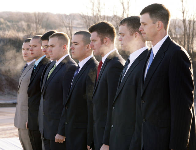 Edmond Police cadets stand in a line as the Edmond Police Department's second police academy has its opening ceremonies at the Edmond Police Dept. Firing Range in Edmond, OK, Monday, Nov. 28, 2011. By Paul Hellstern, The Oklahoman