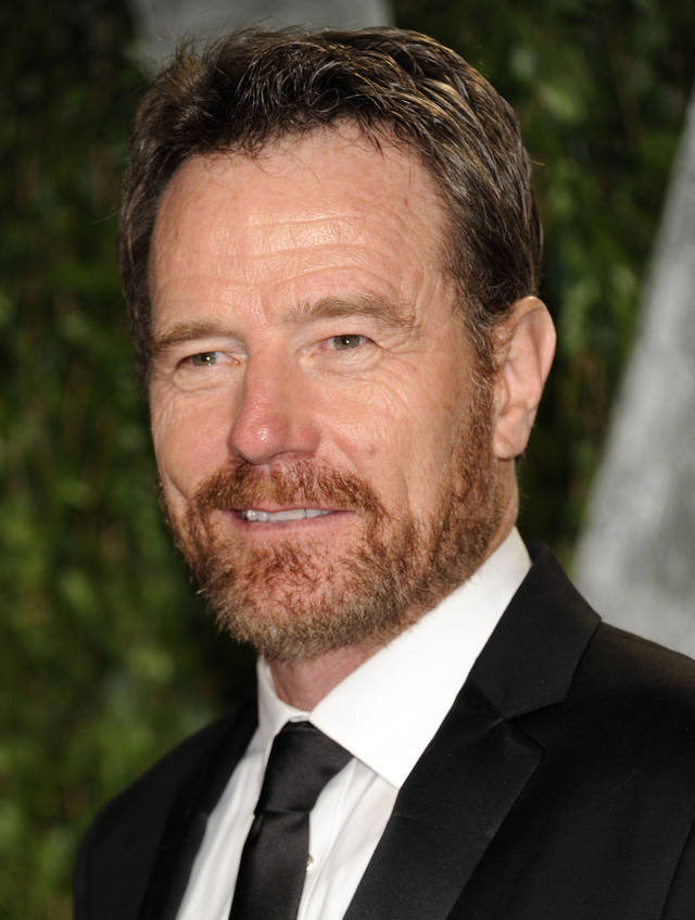 Bryan Cranston arrives at the Vanity Fair Oscar party on Sunday, Feb. 26, 2012, in West Hollywood, Calif. (AP Photo/Evan Agostini)