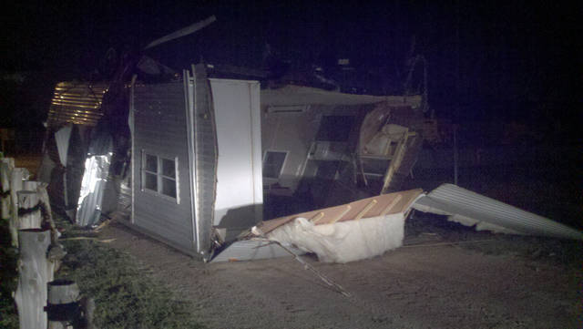 An emergency management trailer was flipped over by powerful wind gusts after a heat burst hit Woodward late Friday. Photo provided