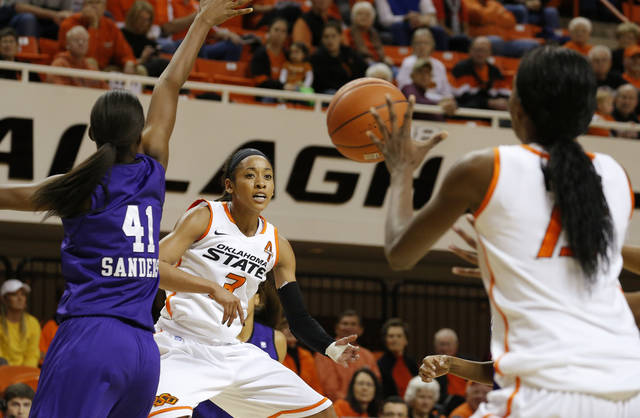 Oklahoma State's Tiffany Bias (3) passes the ball around Stephen F. Austin's Wykeia Sanders (41) to Oklahoma State's Toni Young (15) during a women's college basketball game between Oklahoma State University and Stephen F. Austin at Gallagher-Iba Arena in Stillwater, Okla., Thursday, Dec. 6, 2012.  Photo by Bryan Terry, The Oklahoman
