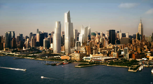 In this artist rendering created by Visualhouse and released by Hudson Yards, the Hudson Yards redevelopment as it will be seen while looking northeast while on the Hudson River is shown. With the ceremonial groundbreaking on Tuesday, Dec. 4, 2012, the transformation of the largest undeveloped property in Manhattan from a railroad storage yard into a sleek new neighborhood of spiky high-rises and graceful parks has begun. The first office tower is expected to be completed in 2015. (AP Photo/Visualhouse via Hudson Yards)