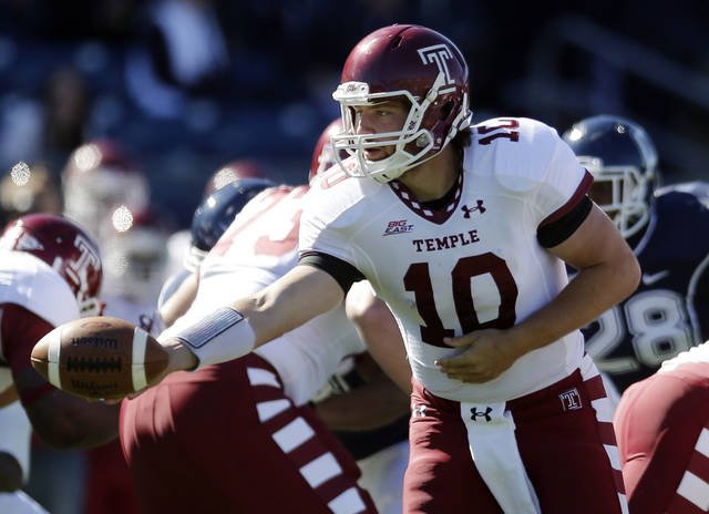 Temple quarterback Chris Coyer (10) hands off in the first quarter of an NCAA football game against Connecticut in East Hartford, Conn., Saturday, Oct. 13, 2012. (AP Photo/Michael Dwyer)