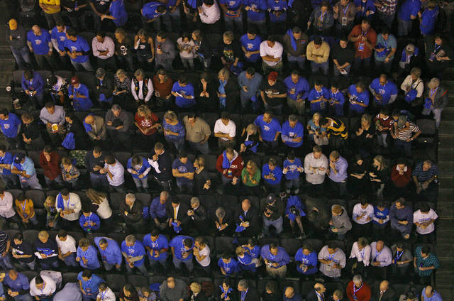 Thunder fans fill the seats in the Ford Center during the first half of the opening night NBA basketball game between the Oklahoma City Thunder and the Milwaukee Bucks on Wednesday, Oct. 29, 2008, at the Ford Center in Oklahoma City, Okla.