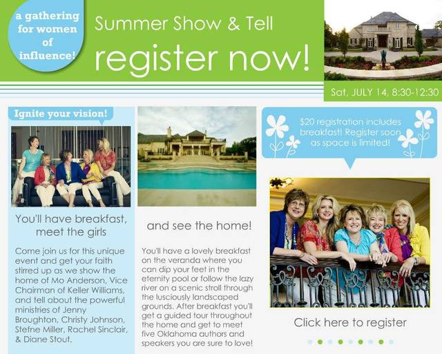"""Christian speakers participating in the """"Summer Show & Tell"""" event on July 14 include Jenny Broughton, Rachel Sinclair, Stefne Miller, Diane Stout and Christy Johnson. Photo provided"""