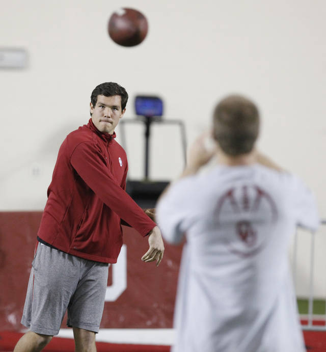 Sam Bradford warms up before his NFL Pro Day workout at the Everest Training Center at The University of Oklahoma in Norman, Oklahoma March 29 , 2010. Photo by Steve Gooch, The Oklahoman