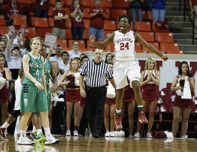 Oklahoma's Sharane Campbell (24) reacts to a call late in the second half as the University of Oklahoma Sooners (OU) play the North Texas Mean Green in NCAA, women's college basketball at The Lloyd Noble Center on Thursday, Dec. 6, 2012  in Norman, Okla. Photo by Steve Sisney, The Oklahoman