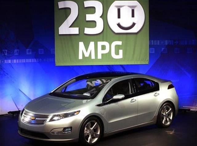 The Chevy Volt's 230 composite MPG rating was announced at GM's Tech Center in Warren, Mich. during a news conference Tuesday, Aug. 11, 2009.  (AP Photo/Gary Malerba)