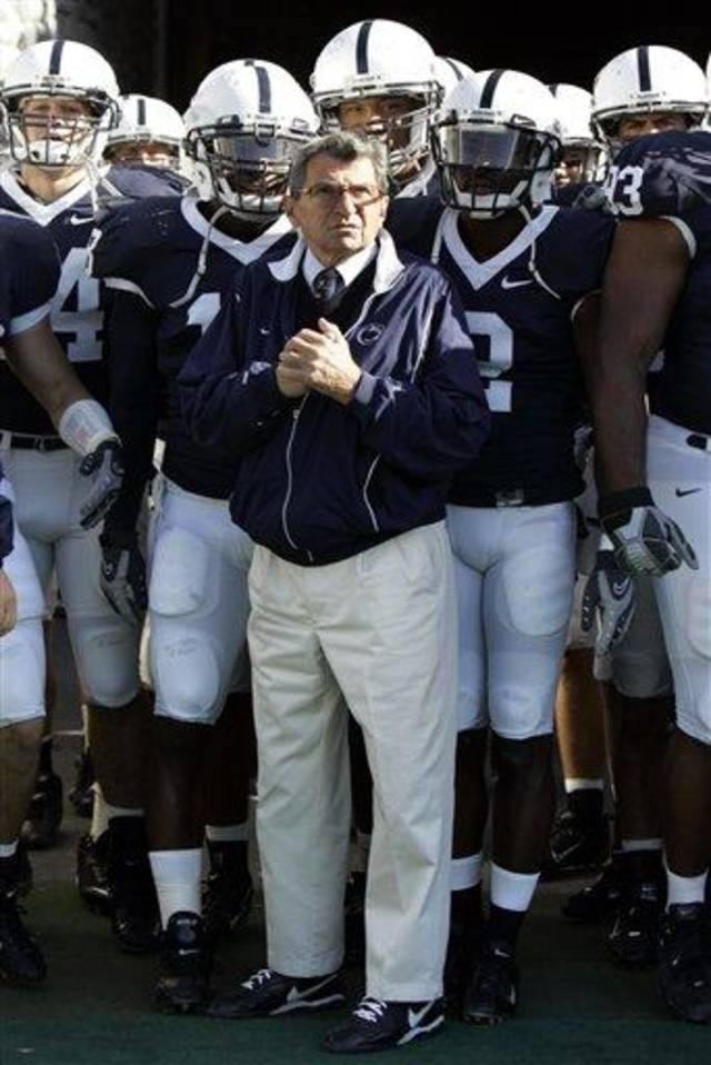 ** FILE** Penn State football coach Joe Paterno stands with his team before they take the field for a football game against Wisconsin in State College, Pa., in this Oct. 13, 2007, file photo. Penn State won 38-7. Paterno is being paid about a half-million dollars a year, state officials said Thursday, Nov. 29, 2007, ending one of the most closely guarded secrets of college sports in Pennsylvania. (AP Photo/Carolyn Kaster)