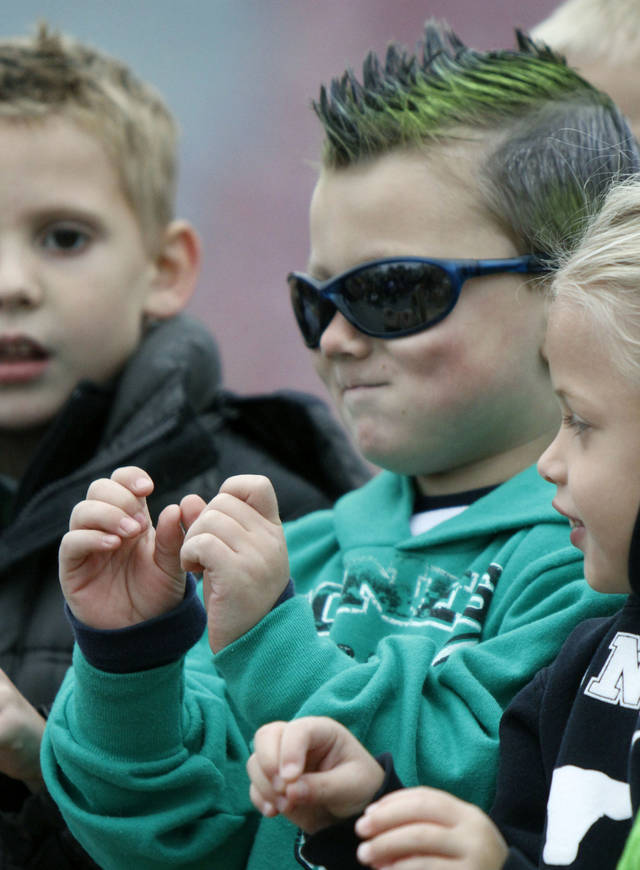 Five year old Luke Hill sings with other kindergartners during the Jones Old Timers Day celebration in Jones, OK, Saturday, October 6, 2012,  By Paul Hellstern, The Oklahoman