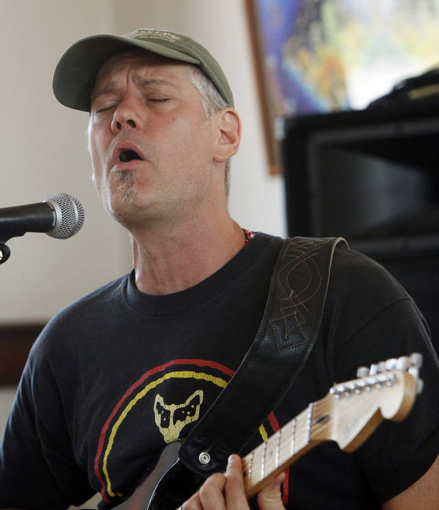 "Travis Fite sings while playing the guitar during a Jazz in June clinic on ""The Tulsa Sound"" at the Santa Fe Depot, 200 S Jones Ave., in Norman, Okla., Saturday, June 23, 2012. Photo by Nate Billings, The Oklahoman"