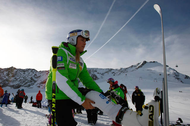 Lindsey Vonn, of the US, warms up during a course inspection on the glacier of Soelden, in Austria, Friday, Oct .26, 2012. The Alpine Ski World Cup goes underway Saturday, Oct. 27, in Austria with the women's World Cup Giant Slalom. (AP Photo/Alessandro Trovati)