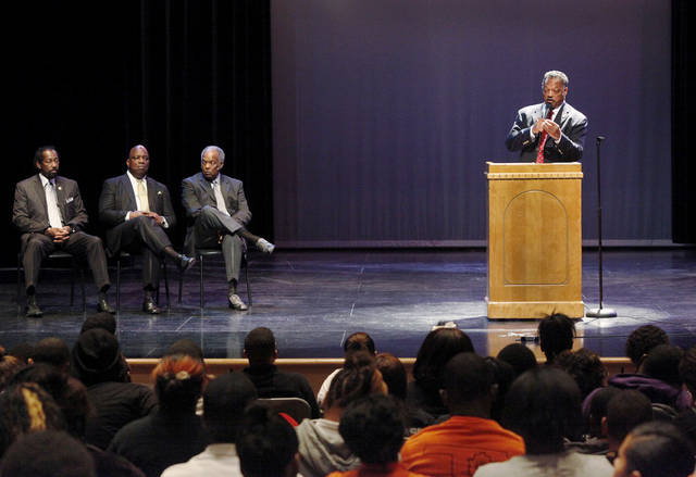 Rev. Jesse Jackson visited Douglass High School in Oklahoma City on Wednesday morning, April 18, 2012.   Jackson held a brief, informal session with players from the school's state championship basketball team before addressing a general assembly of students in the auditorium. His comments were of an inspirational nature, encouraging the youth to stay in school and  focus on their academic  requirements so they can have more access to opportunities  for success and advancement in life after graduation.    Photo by Jim Beckel, The Oklahoman