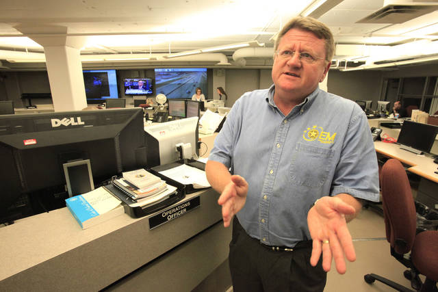 Albert Ashwood, Oklahoma Department of Emergency Management director, speaks Wednesday at the state emergency management bunker at the Capitol. Photo By David McDaniel, The Oklahoman