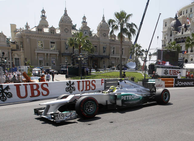 Mercedes Grand Prix driver Nico Rosberg, of Germany, steers his car during a third free practice session at the Monaco racetrack, in Monaco, Saturday, May 26, 2012. The Formula one race will be held on Sunday. (AP Photo/Antonio Calanni)