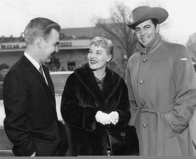 Singer Patti Page and actor Dale Robertson, right, are seen with Gov. J. Howard Edmondson at his inauguration in 1959. The Oklahoman Archives