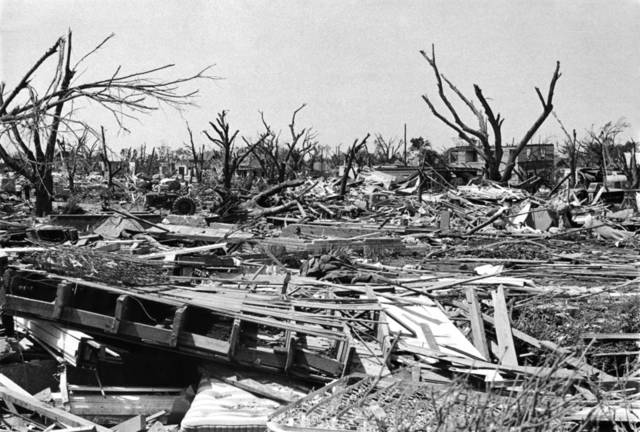 The scene resembled a battlefield in May 1955 after a tornado slammed Blackwell. (Oklahoman Archives)