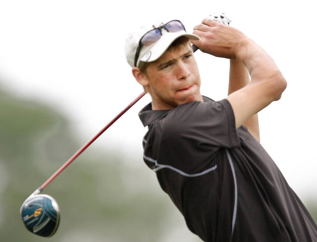Guymon High School golfer Trey Fankhouser hits the ball on the #18 tee box during 4A state boys golf tournament at Hefner Golf Course, Tuesday,  May 10,  2011, Photo by Jim Beckel, The Oklahoman