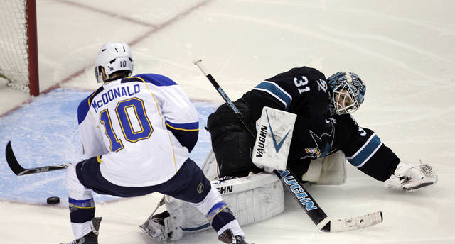 St. Louis Blues center Andy McDonald (10) scores past San Jose Sharks goalie Antti Niemi (31), of Finland, during the second period in Game 3 of an NHL Stanley Cup first-round hockey playoff series, Monday, April 16, 2012 in San Jose, Calif. (AP Photo/Paul Sakuma)