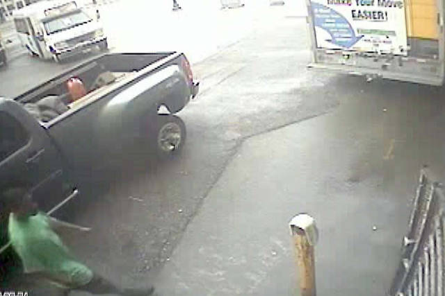 "This undated image made from video provided on Monday, Sept. 3, 2012 by the Detroit Police Department shows a ""person of interest"" in the theft of a Secret Service rental truck carrying equipment related to Vice President Joe Biden's Labor Day visit to Detroit. (AP Photo/Detroit Police Department)"