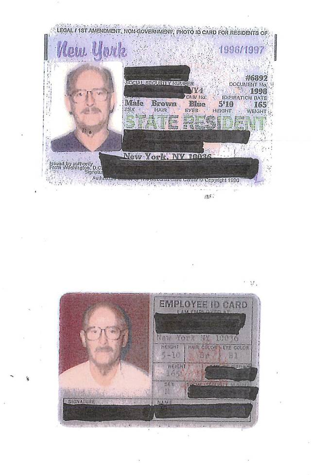 "This image released by the U.S. Department of Justice show exhibits of identification cards entered during an earlier detention hearing for Catherine Greig, with names and other information redacted. The exhibits were unsealed by the U.S. District Court in Boston Wednesday, Aug. 17, 2011. Greig is scheduled to be arraigned Thursday, Aug. 18, 2011 in Boston on charges of conspiracy to harbor and conceal a fugitive, her longtime boyfriend James ""Whitey"" Bulger. (AP Photo/U.S. Department of Justice)"
