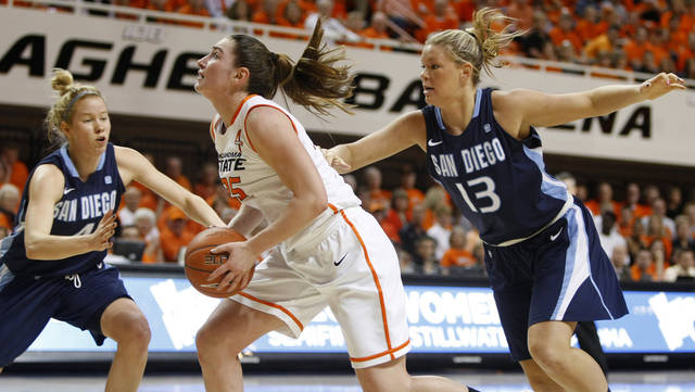 Oklahoma State's Lindsey Keller (25) goes to the basket between San Diego's Izzy Chilcott (4) and Felicia Wijenberg (13) during the women's NIT semifinal college basketball game between Oklahoma State University (OSU) and San Diego at Gallagher-Iba Arena in Stillwater, Okla., Wednesday, March 28, 2012. Photo by Bryan Terry, The Oklahoman