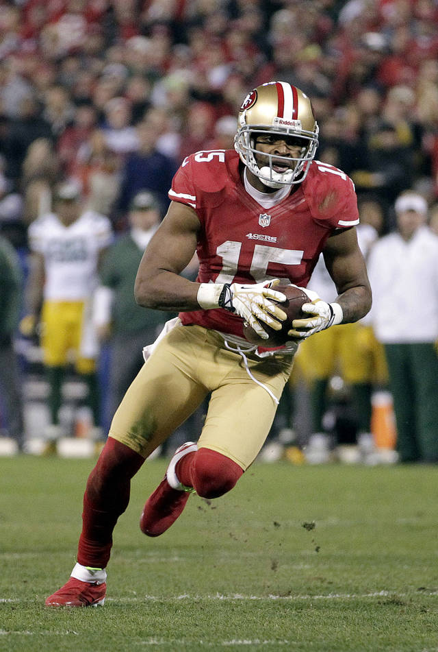 This photo taken Jan. 12, 2013 shows San Francisco 49ers wide receiver Michael Crabtree (15) against the Green Bay Packers in an NFC divisional playoff NFL football game in San Francisco.  Police in San Francisco say they're investigating a sexual assault allegation involving Crabtree. Police said in a statement released Friday Jan. 18, 2013, that the alleged assault occurred in a city hotel room early Sunday after the 49ers' playoff victory over the Green Bay Packers.  (AP Photo/Tony Avelar)