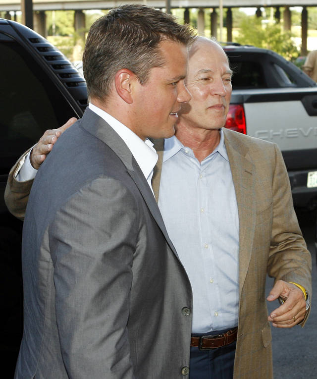 "Actor Matt Damon and producer Frank Marshall arrive at the Oklahoma City premiere of ""The Bourne Ultimatum""  at the Harkins Bricktown Theaters in Oklahoma City, Tuesday, July 31, 2007. Damon and Marshall brought the film to benefit The Children's Center. By Nate Billings, The Oklahoman"