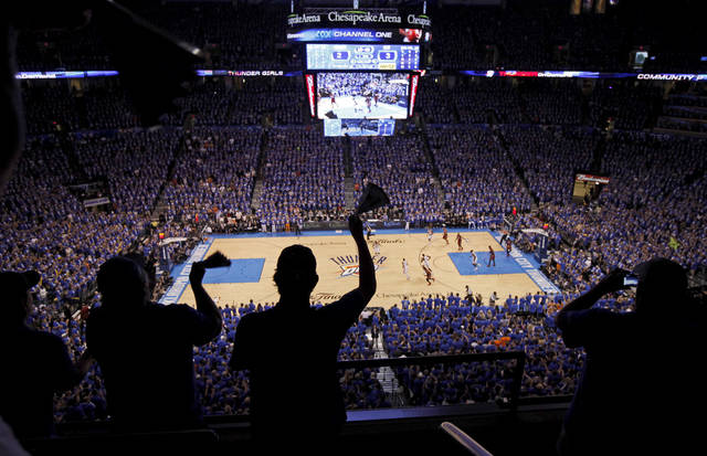 Fans cheer during Game 1 of the NBA Finals between the Oklahoma City Thunder and the Miami Heat at Chesapeake Energy Arena in Oklahoma City, Tuesday, June 12, 2012. Photo by Bryan Terry, The Oklahoman