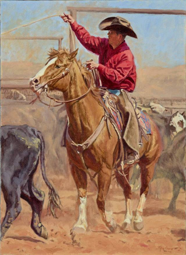 """Momma's Spring Shadow"" is a painting by Tyler Crow, 21, who lives near Apache. At right is another painting by Crow called ""Cowboy Fly Fishing."" Two of his works will be included in the ""Small Works, Great Wonders Winter Art Sale"" Nov. 18 at the National Cowboy & Western Heritage Museum.  PHOTOS PROVIDED BY BOB SMITH"