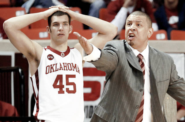 OU coach Jeff Capel, right, has not talked publicly since March 10. Since then, multiple players have left the program and reports have surfaced of a player accepting $3,000 from a financial adviser. Photo by Nate Billings, The Oklahoman