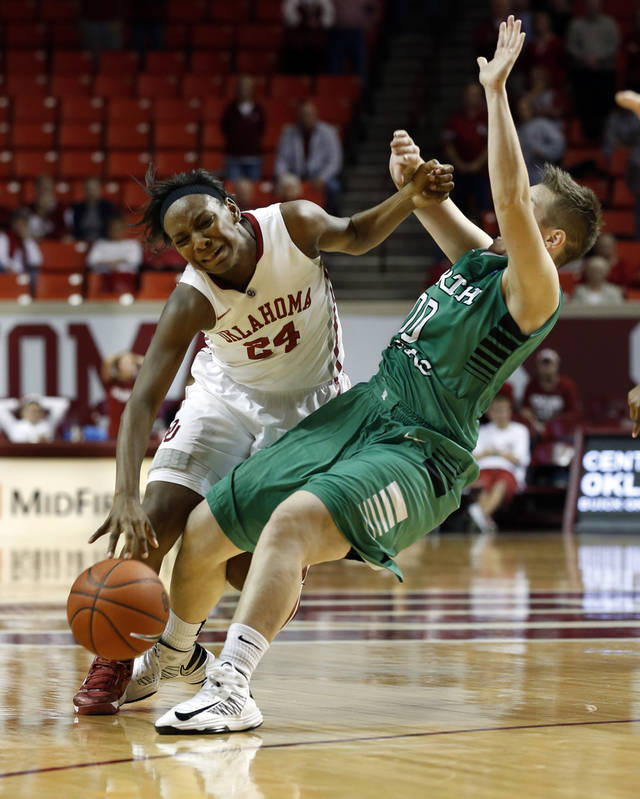Oklahoma's Sharane Campbell (24) is fouled on a drive by Hannah Christian (00) as the University of Oklahoma Sooners (OU) play the North Texas Mean Green in NCAA, women's college basketball at The Lloyd Noble Center on Thursday, Dec. 6, 2012  in Norman, Okla. Photo by Steve Sisney, The Oklahoman
