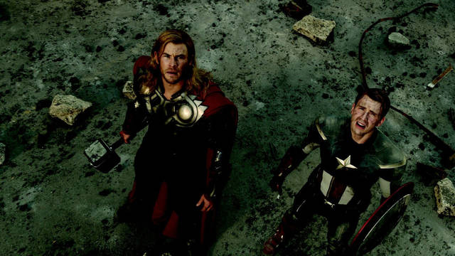 Chris Hemsworth, as Thor, and Chris Evans, as Captain America, star in Marvel�s �The Avengers.� Photo provided by Marvel Entertainment