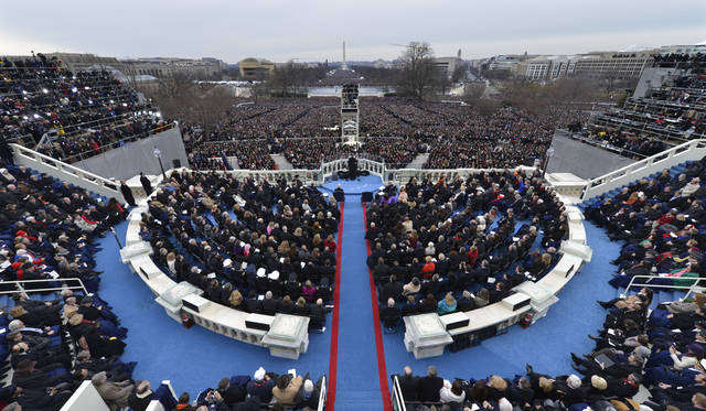 President Barack Obama speaks at the ceremonial swearing-in at the U.S. Capitol during the 57th Presidential Inauguration in Washington, Monday, Jan. 21, 2013. (AP Photo/Susan Walsh)