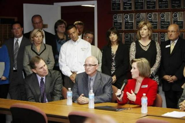 Oklahoma City Schools Superintendent Karl Springer, left, Edmond Schools Superintendent Dr. David Goin, and Union Superintendent Cathy Burden speak during a press conference, as superintendents from across the state area meet in Oklahoma City, OK, Thursday, October 4, 2012 to express concern and frustration about the A-F school evaluation reform. By Paul Hellstern