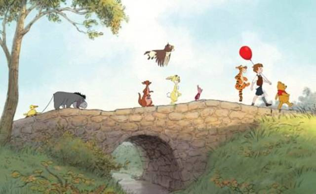 """WINNIE THE POOH""  Film Frame  (L-R) Eeyore, Kanga, Roo, Owl, Rabbit, Piglet, Tigger, Christopher Robin, Winnie the Pooh  ©Disney Enterprises, Inc. All rights reserved."